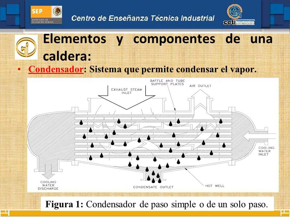 Elementos y componentes de una caldera: Condensador: Sistema que permite condensar el vapor. Figura 1: Condensador de paso simple o de un solo paso.