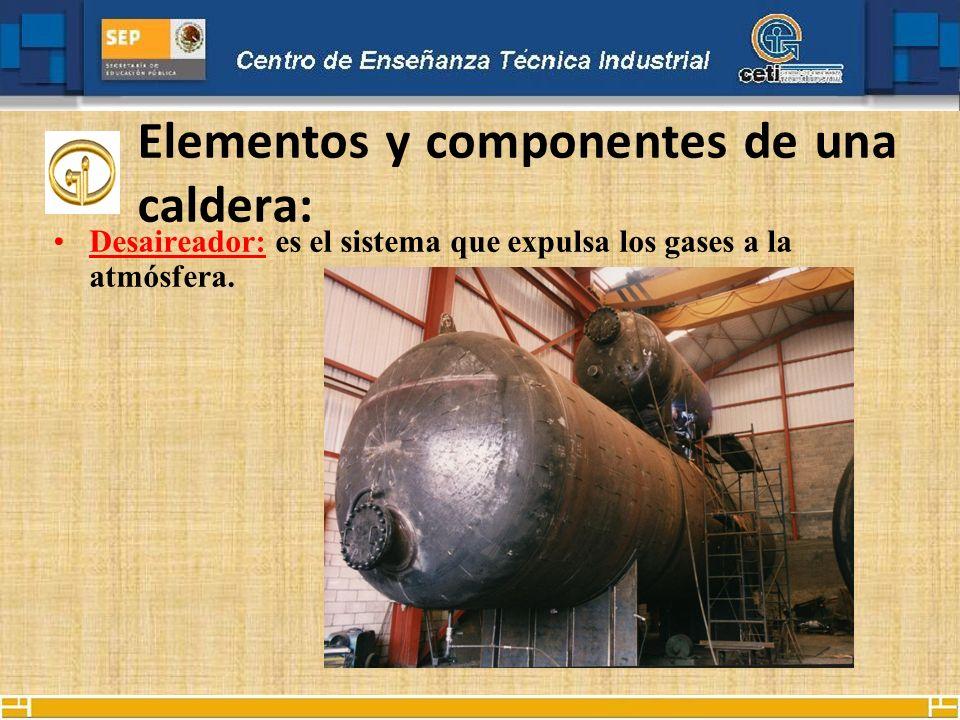 Elementos y componentes de una caldera: Desaireador: es el sistema que expulsa los gases a la atmósfera.