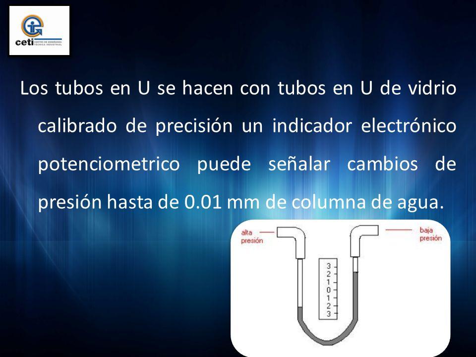 Los tubos en U se hacen con tubos en U de vidrio calibrado de precisión un indicador electrónico potenciometrico puede señalar cambios de presión hast