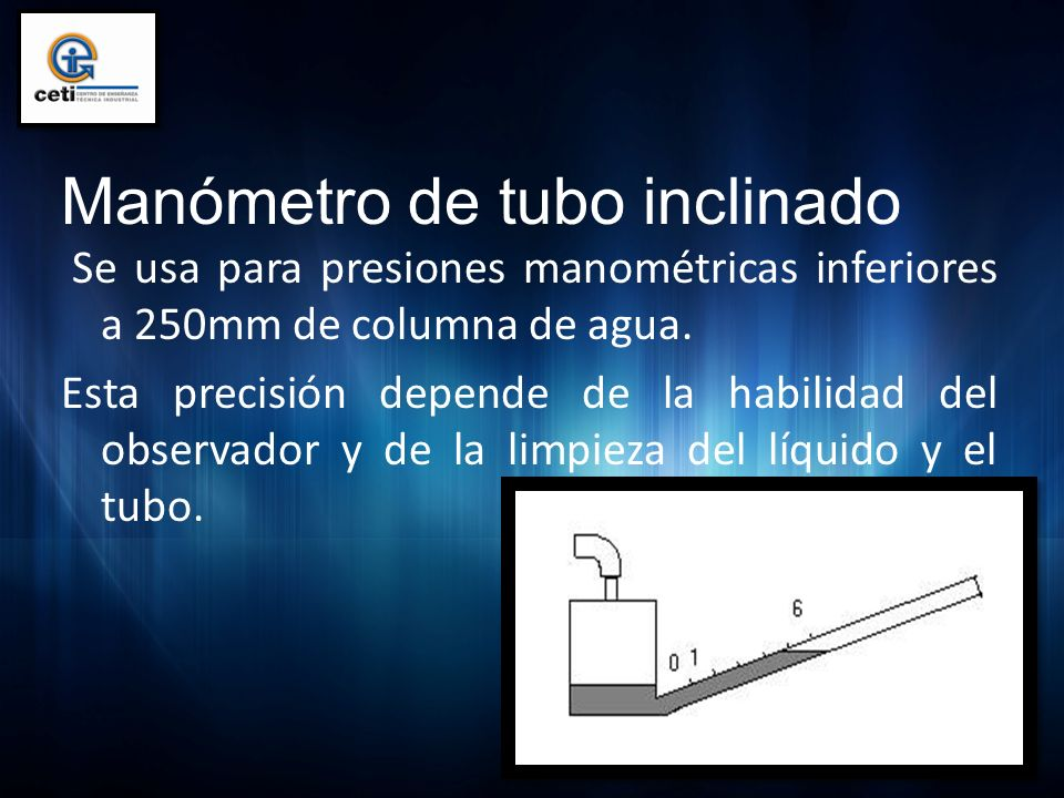 Manómetro de tubo inclinado Se usa para presiones manométricas inferiores a 250mm de columna de agua. Esta precisión depende de la habilidad del obser