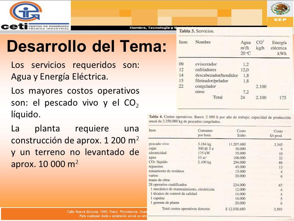 Desarrollo del Tema: Los servicios requeridos son: Agua y Energía Eléctrica.