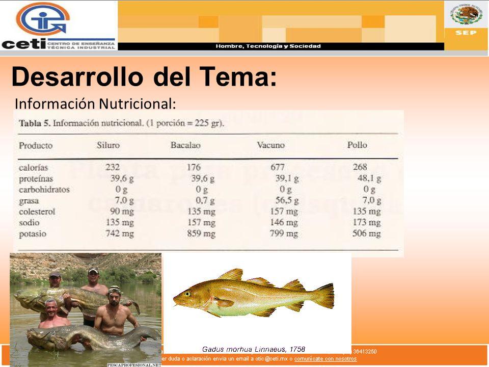 Desarrollo del Tema: Información Nutricional: