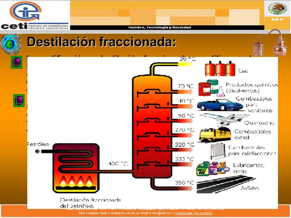 Destilación fraccionada: La rectificación o destilación fraccionada, se utiliza mucho en la industria, no sólo para mezclas simples de dos componentes