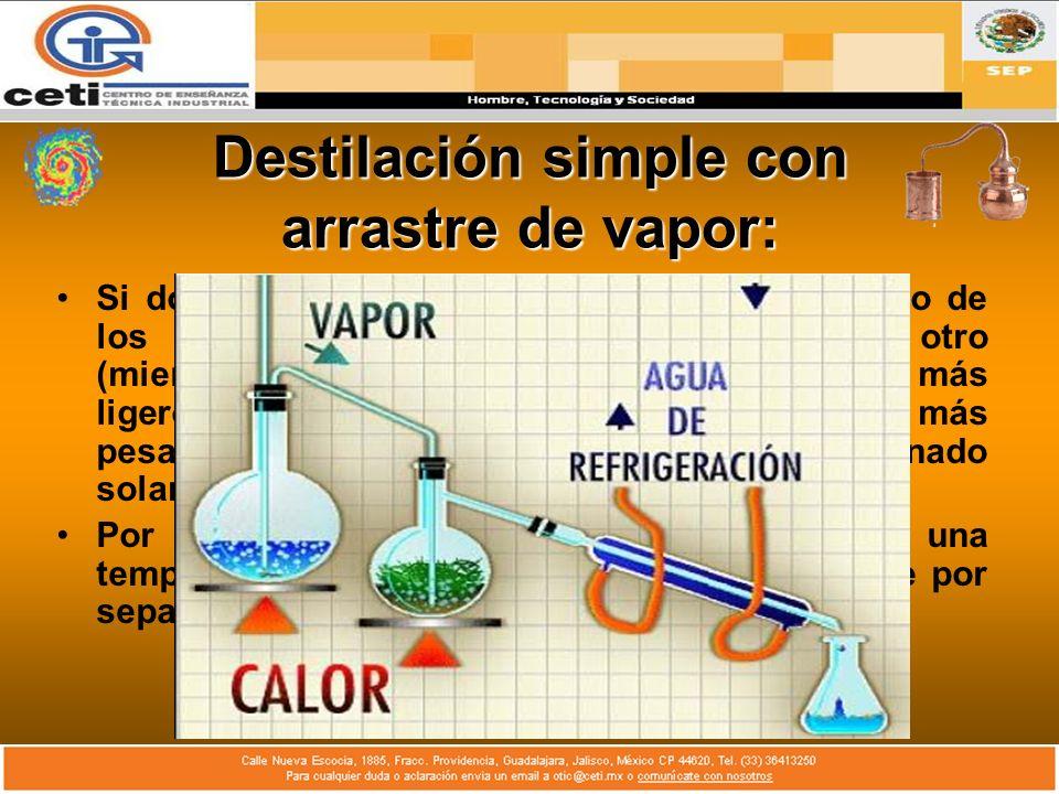 Destilación simple con arrastre de vapor: Si dos líquidos insolubles se calientan, ninguno de los dos es afectado por la presencia del otro (mientras