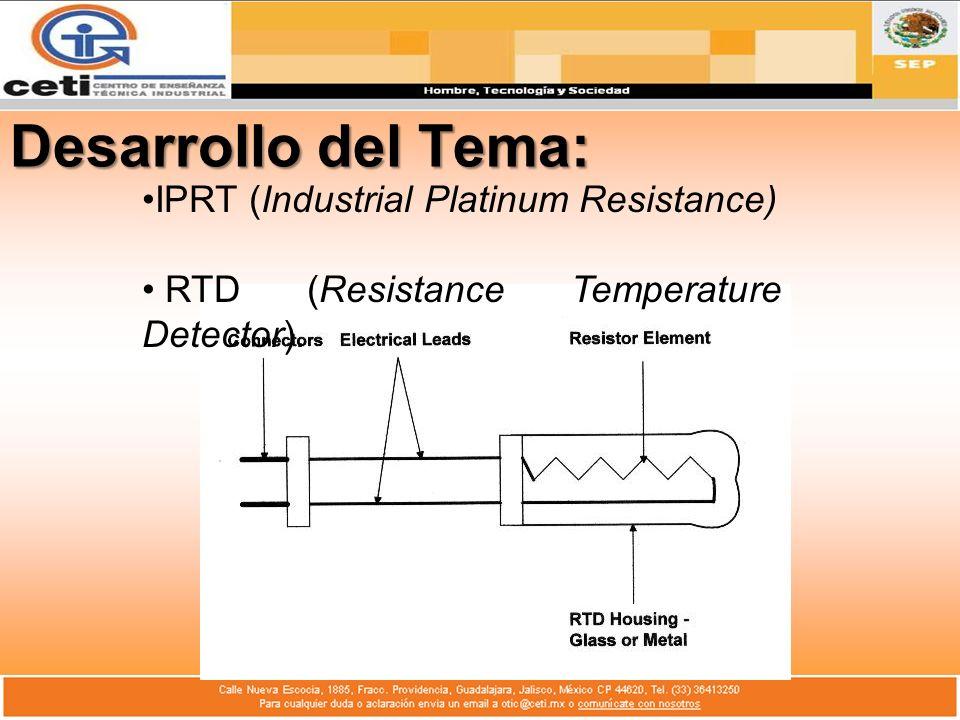 Desarrollo del Tema: IPRT (Industrial Platinum Resistance) RTD (Resistance Temperature Detector).