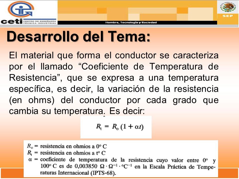 Desarrollo del Tema: El material que forma el conductor se caracteriza por el llamado Coeficiente de Temperatura de Resistencia, que se expresa a una