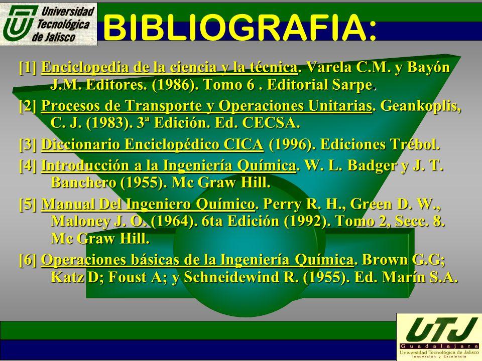 BIBLIOGRAFIA: [1] Enciclopedia de la ciencia y la técnica. Varela C.M. y Bayón J.M. Editores. (1986). Tomo 6. Editorial Sarpe. [2] Procesos de Transpo