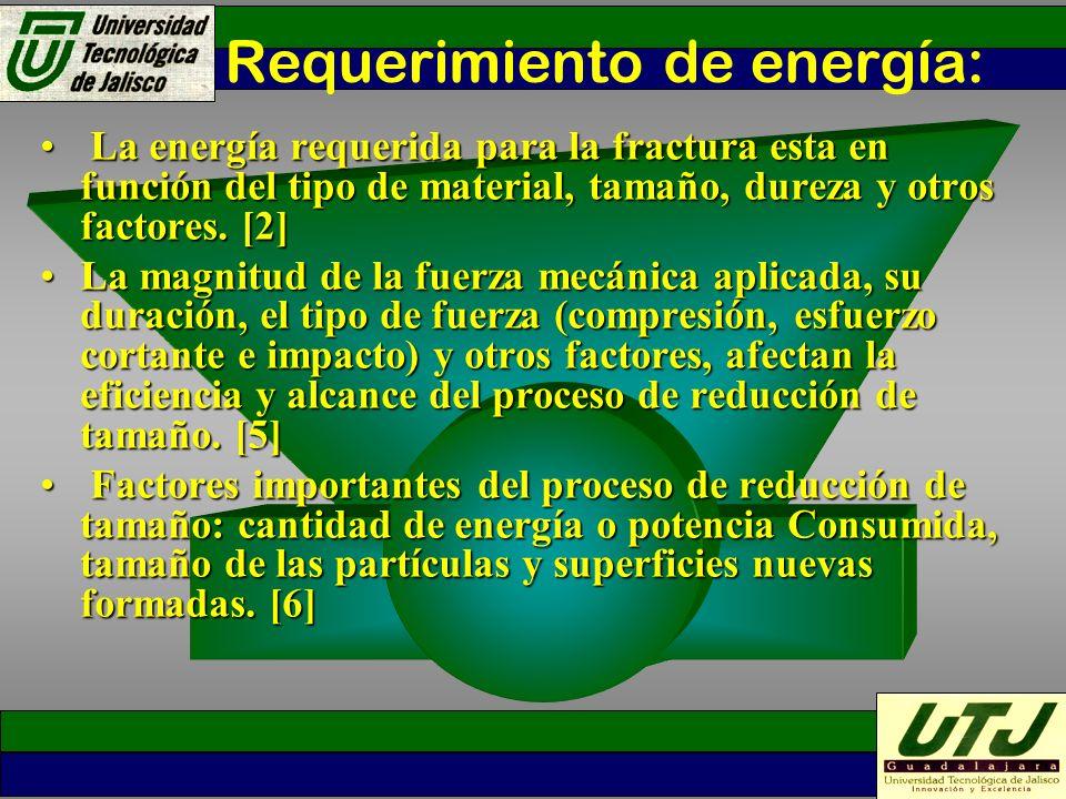 Requerimiento de energía: La energía requerida para la fractura esta en función del tipo de material, tamaño, dureza y otros factores. [2] La energía