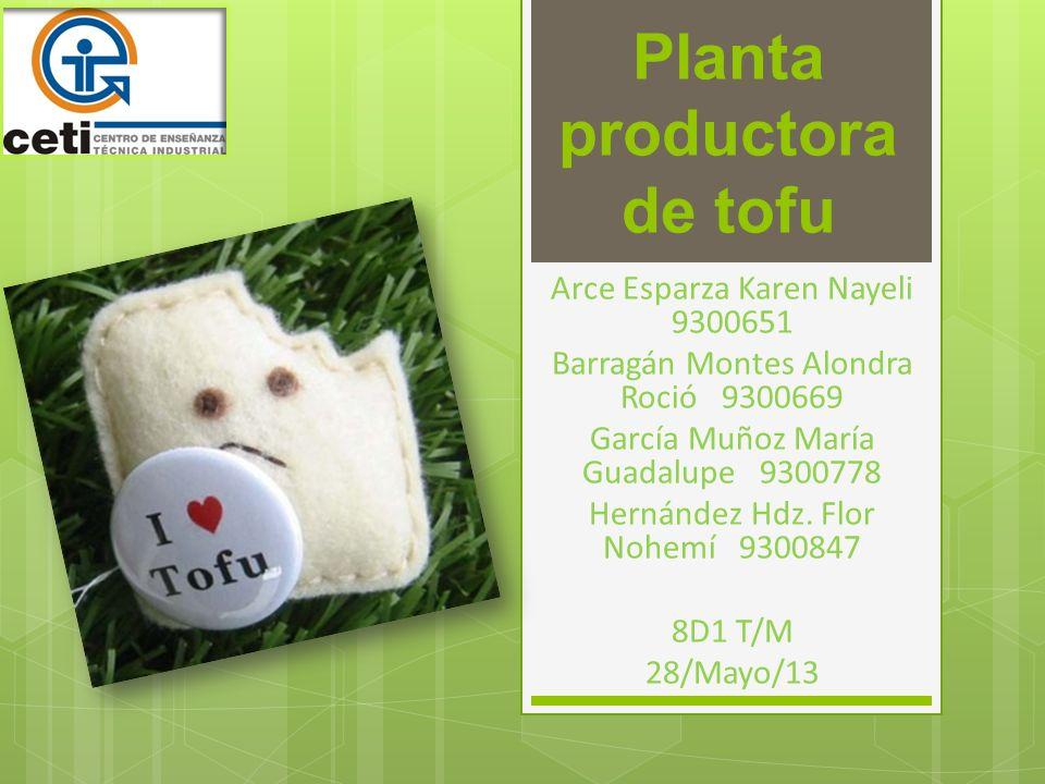Planta productora de tofu Arce Esparza Karen Nayeli 9300651 Barragán Montes Alondra Roció 9300669 García Muñoz María Guadalupe 9300778 Hernández Hdz.