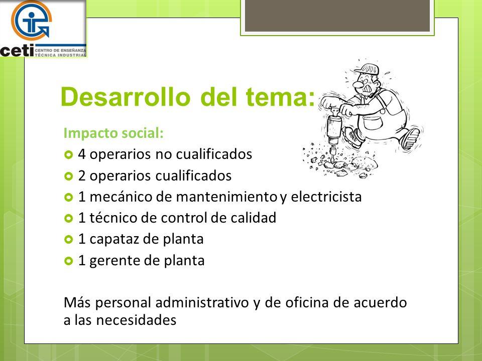 Desarrollo del tema: Impacto social: 4 operarios no cualificados 2 operarios cualificados 1 mecánico de mantenimiento y electricista 1 técnico de cont