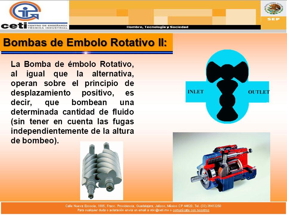 Bombas de Embolo Rotativo II: La Bomba de émbolo Rotativo, al igual que la alternativa, operan sobre el principio de desplazamiento positivo, es decir