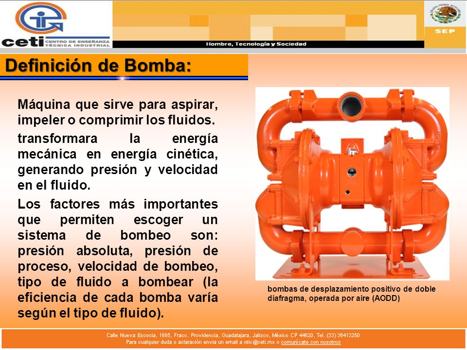 Partes mecánicas básicas de una Bomba: