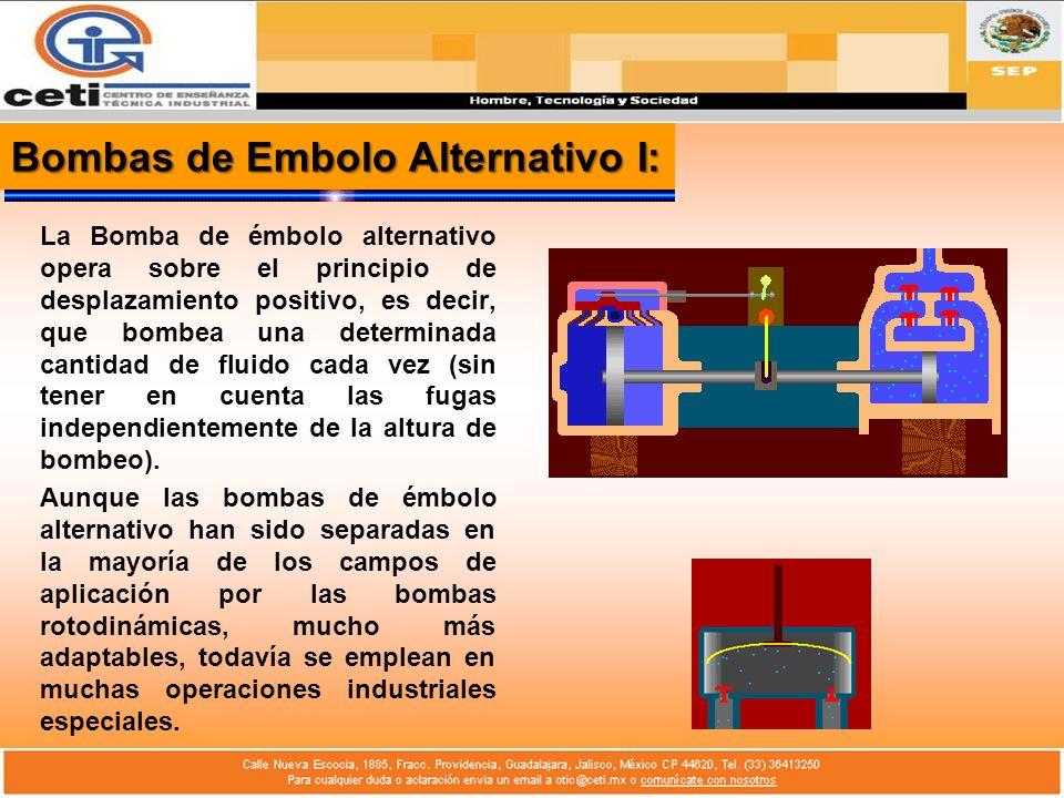 Bombas de Embolo Alternativo II: En su forma usual, la bomba de émbolo alternativo consiste en un pistón que tiene un movimiento de vaivén dentro de un cilindro.
