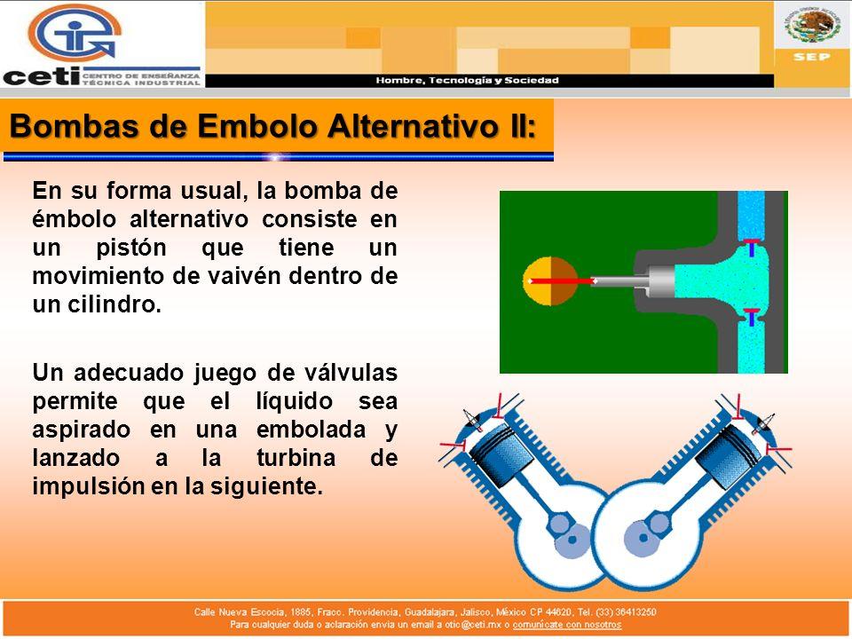 Bombas de Embolo Alternativo II: En su forma usual, la bomba de émbolo alternativo consiste en un pistón que tiene un movimiento de vaivén dentro de u