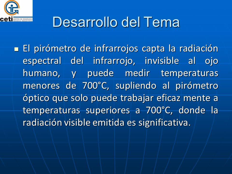 El pirómetro de infrarrojos capta la radiación espectral del infrarrojo, invisible al ojo humano, y puede medir temperaturas menores de 700°C, suplien