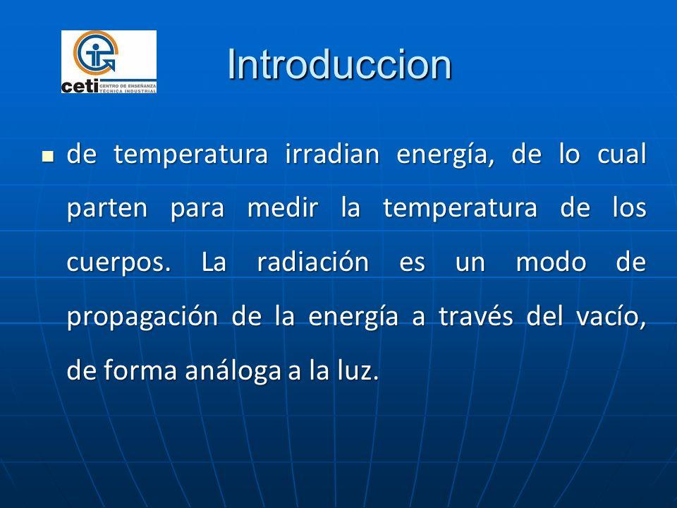 Introduccion de temperatura irradian energía, de lo cual parten para medir la temperatura de los cuerpos. La radiación es un modo de propagación de la