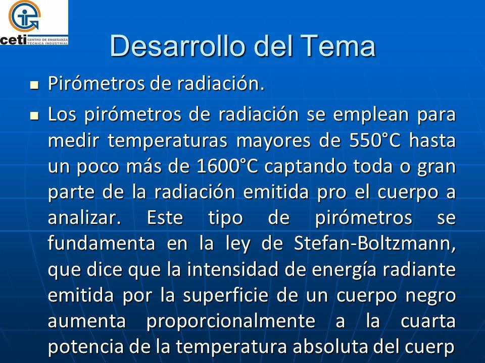 Desarrollo del Tema Pirómetros de radiación. Pirómetros de radiación. Los pirómetros de radiación se emplean para medir temperaturas mayores de 550°C
