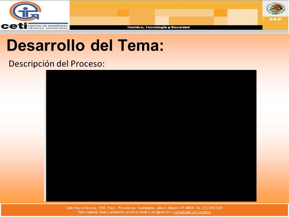 Desarrollo del Tema: Descripción del Proceso: