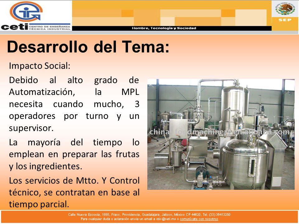 Desarrollo del Tema: Impacto Social: Debido al alto grado de Automatización, la MPL necesita cuando mucho, 3 operadores por turno y un supervisor. La