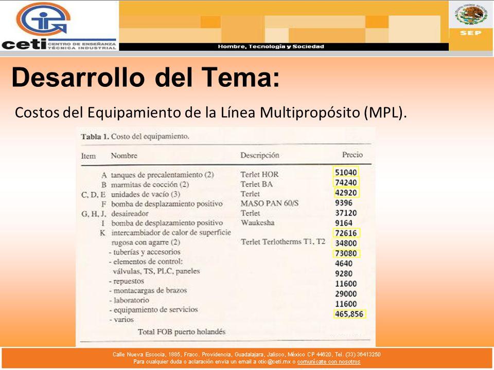 Desarrollo del Tema: Costos del Equipamiento de la Línea Multipropósito (MPL).