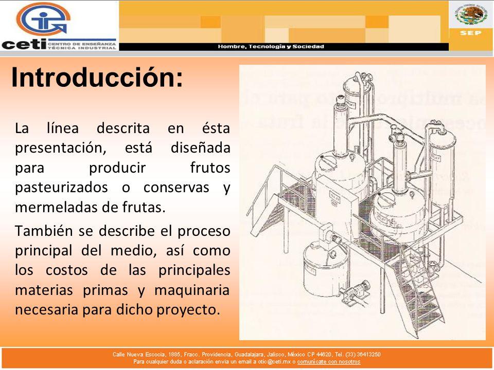 Introducción: La línea descrita en ésta presentación, está diseñada para producir frutos pasteurizados o conservas y mermeladas de frutas. También se