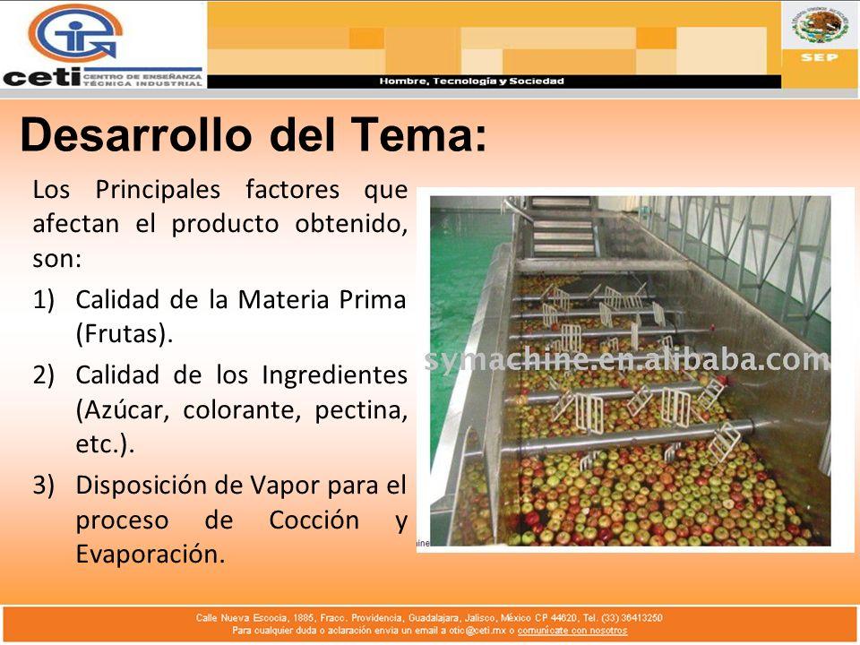 Desarrollo del Tema: Los Principales factores que afectan el producto obtenido, son: 1)Calidad de la Materia Prima (Frutas). 2)Calidad de los Ingredie