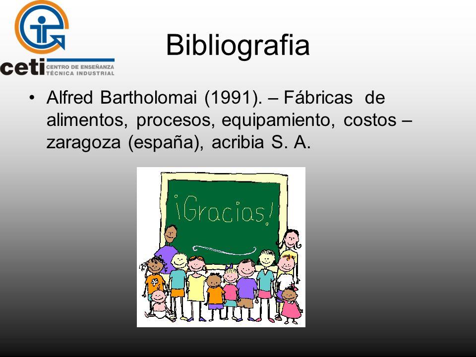 Bibliografia Alfred Bartholomai (1991). – Fábricas de alimentos, procesos, equipamiento, costos – zaragoza (españa), acribia S. A.