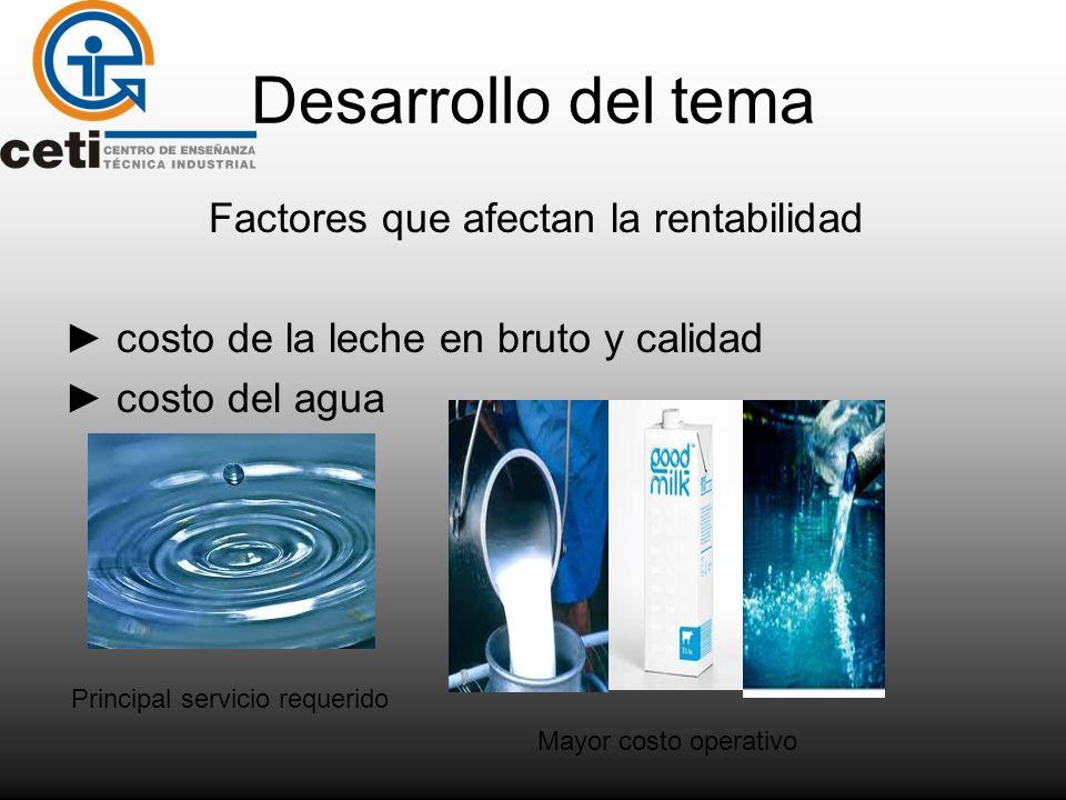 Desarrollo del tema Factores que afectan la rentabilidad costo de la leche en bruto y calidad costo del agua Mayor costo operativo Principal servicio