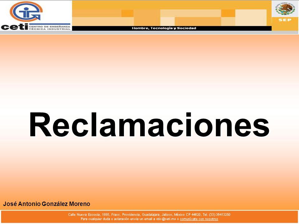Reclamaciones José Antonio González Moreno