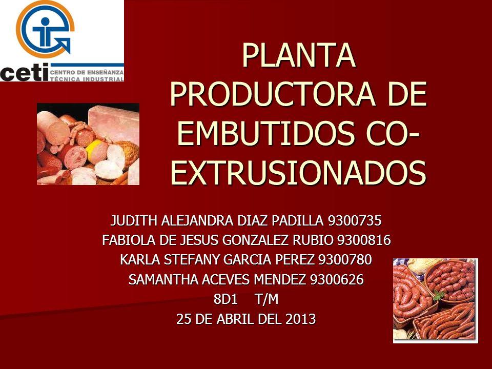 PLANTA PRODUCTORA DE EMBUTIDOS CO- EXTRUSIONADOS JUDITH ALEJANDRA DIAZ PADILLA 9300735 FABIOLA DE JESUS GONZALEZ RUBIO 9300816 KARLA STEFANY GARCIA PE