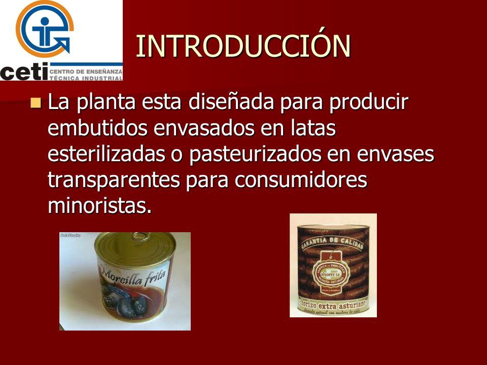 INTRODUCCIÓN La planta esta diseñada para producir embutidos envasados en latas esterilizadas o pasteurizados en envases transparentes para consumidor