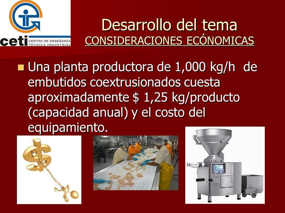 Desarrollo del tema CONSIDERACIONES ECÓNOMICAS Una planta productora de 1,000 kg/h de embutidos coextrusionados cuesta aproximadamente $ 1,25 kg/produ