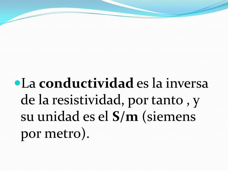 La conductividad es la inversa de la resistividad, por tanto, y su unidad es el S/m (siemens por metro).