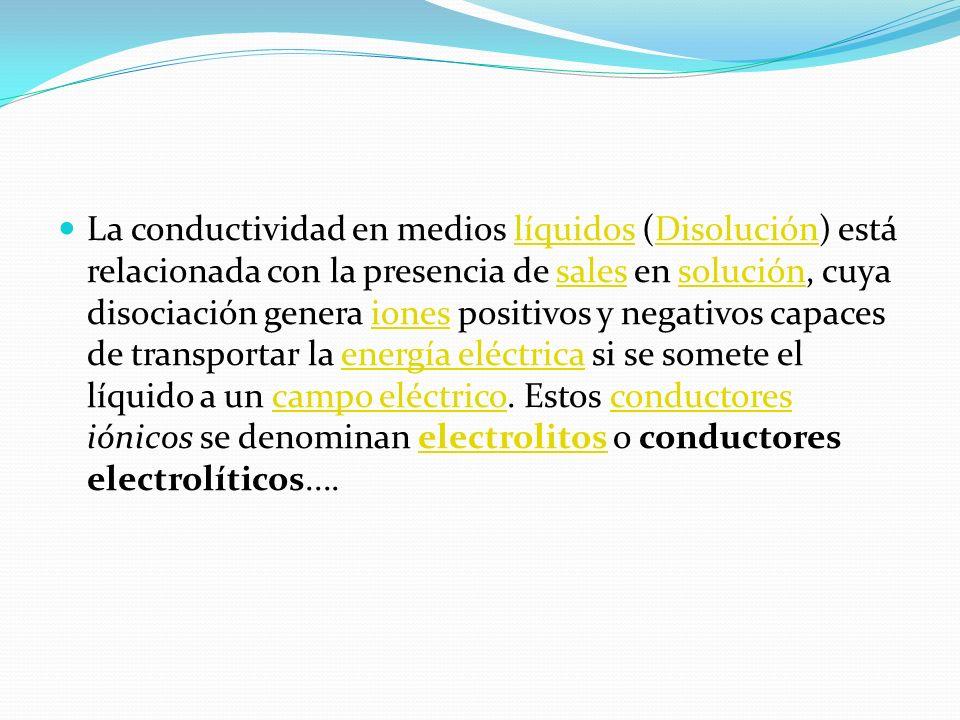 La conductividad en medios líquidos (Disolución) está relacionada con la presencia de sales en solución, cuya disociación genera iones positivos y neg