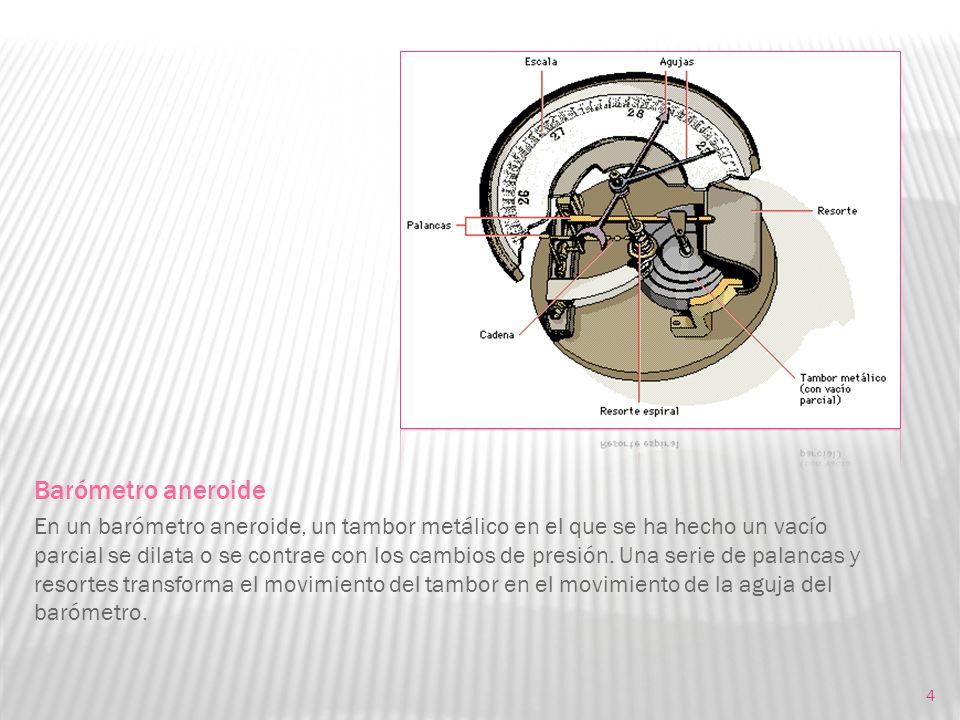 4 Barómetro aneroide En un barómetro aneroide, un tambor metálico en el que se ha hecho un vacío parcial se dilata o se contrae con los cambios de pre