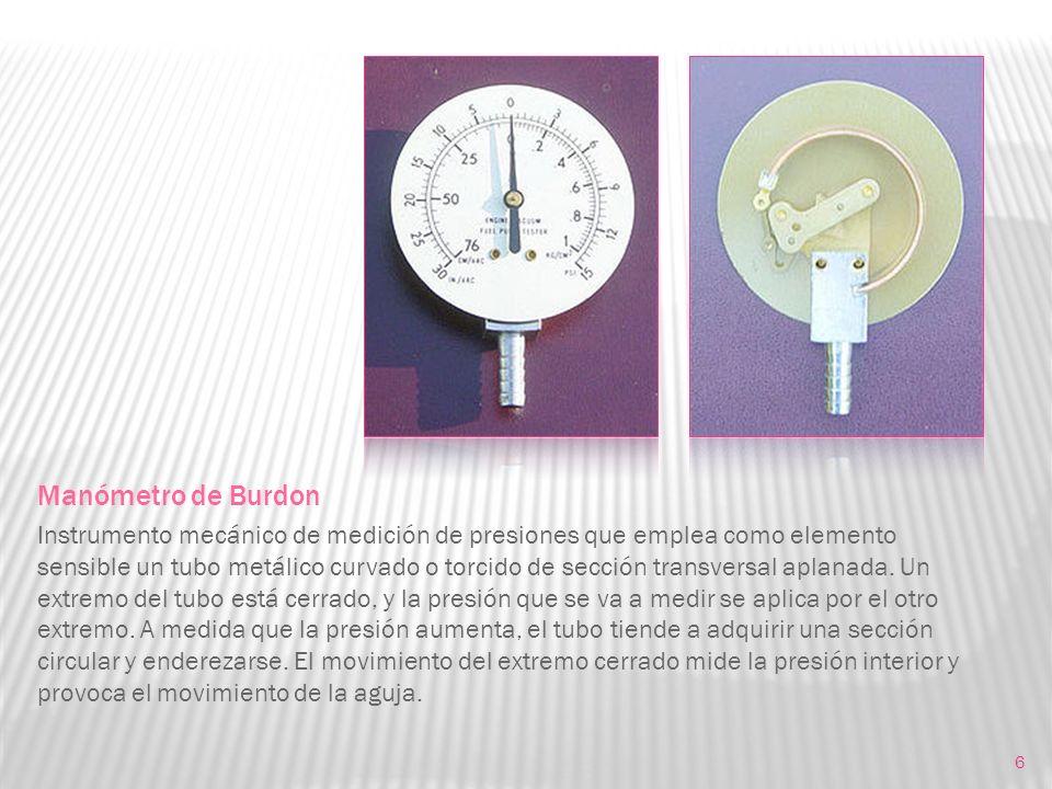 6 Manómetro de Burdon Instrumento mecánico de medición de presiones que emplea como elemento sensible un tubo metálico curvado o torcido de sección tr