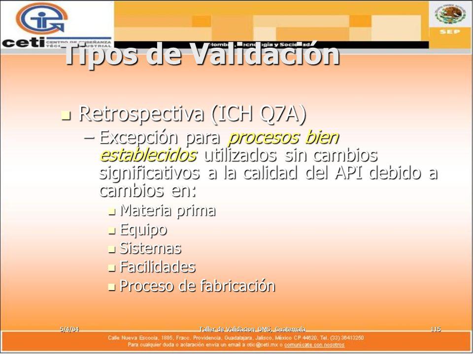 5/4/04Taller de Validacion OMS, Guatemala115 Tipos de Validación Retrospectiva (ICH Q7A) Retrospectiva (ICH Q7A) –Excepción para procesos bien estable