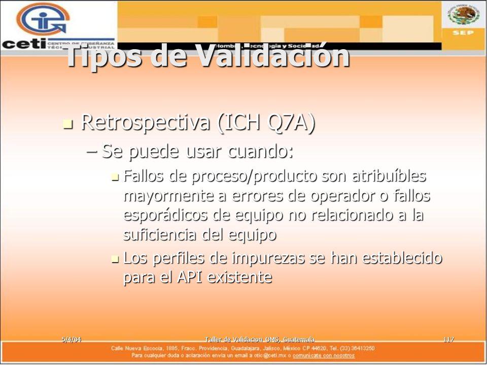 5/4/04Taller de Validacion OMS, Guatemala117 Tipos de Validación Retrospectiva (ICH Q7A) Retrospectiva (ICH Q7A) –Se puede usar cuando: Fallos de proc