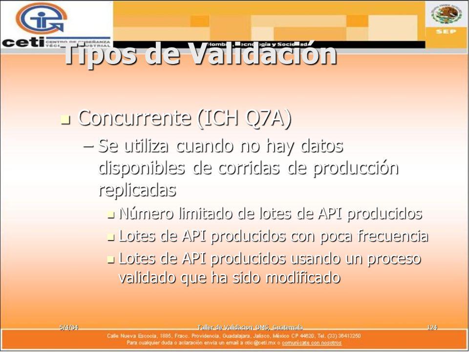 5/4/04Taller de Validacion OMS, Guatemala124 Tipos de Validación Concurrente (ICH Q7A) Concurrente (ICH Q7A) –Se utiliza cuando no hay datos disponibl