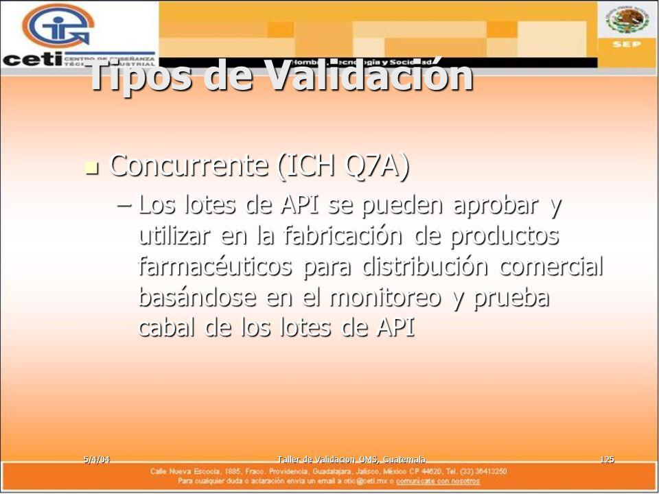 5/4/04Taller de Validacion OMS, Guatemala125 Tipos de Validación Concurrente (ICH Q7A) Concurrente (ICH Q7A) –Los lotes de API se pueden aprobar y uti