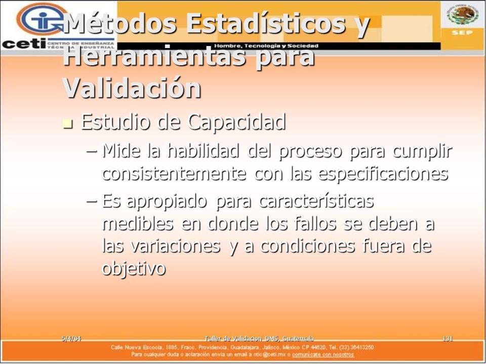 5/4/04Taller de Validacion OMS, Guatemala131 Métodos Estadísticos y Herramientas para Validación Estudio de Capacidad Estudio de Capacidad –Mide la ha