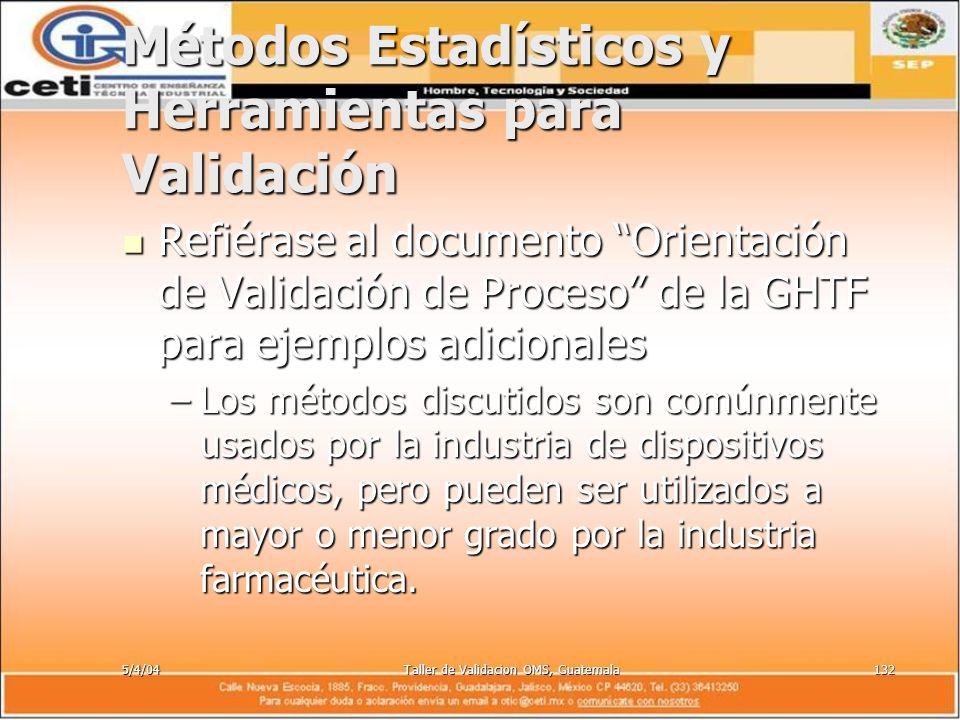 5/4/04Taller de Validacion OMS, Guatemala132 Métodos Estadísticos y Herramientas para Validación Refiérase al documento Orientación de Validación de P