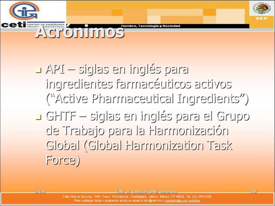 5/4/04Taller de Validacion OMS, Guatemala140 Acrónimos API – siglas en inglés para ingredientes farmacéuticos activos (Active Pharmaceutical Ingredien
