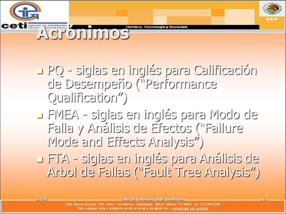5/4/04Taller de Validacion OMS, Guatemala142 Acrónimos PQ - siglas en inglés para Calificación de Desempeño (Performance Qualification) PQ - siglas en