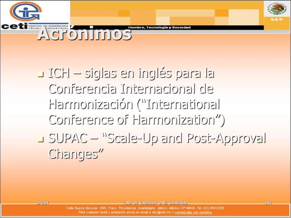5/4/04Taller de Validacion OMS, Guatemala144 Acrónimos ICH – siglas en inglés para la Conferencia Internacional de Harmonización (International Confer