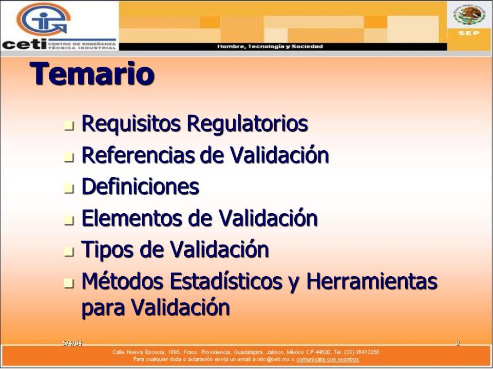 5/4/042 Temario Requisitos Regulatorios Requisitos Regulatorios Referencias de Validación Referencias de Validación Definiciones Definiciones Elemento