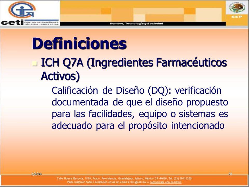5/4/0426 Definiciones ICH Q7A (Ingredientes Farmacéuticos Activos) ICH Q7A (Ingredientes Farmacéuticos Activos) – –Calificación de Diseño (DQ): verifi