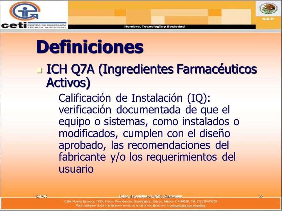 5/4/04Taller de Validacion OMS, Guatemala27 Definiciones ICH Q7A (Ingredientes Farmacéuticos Activos) ICH Q7A (Ingredientes Farmacéuticos Activos) – –