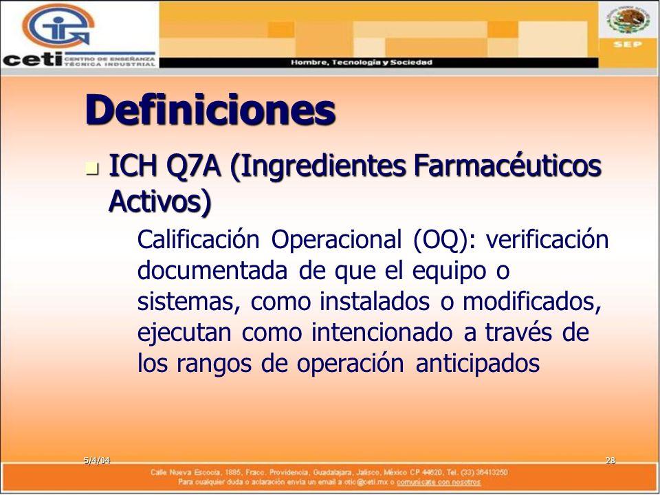 5/4/0428 Definiciones ICH Q7A (Ingredientes Farmacéuticos Activos) ICH Q7A (Ingredientes Farmacéuticos Activos) – –Calificación Operacional (OQ): veri