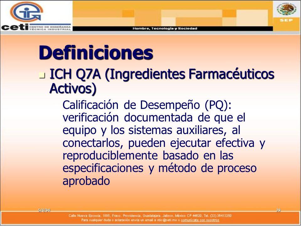 5/4/0429 Definiciones ICH Q7A (Ingredientes Farmacéuticos Activos) ICH Q7A (Ingredientes Farmacéuticos Activos) – –Calificación de Desempeño (PQ): ver
